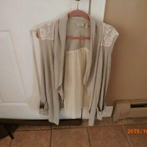 LOGO Lori Goldstein Vest-Gray-Ivory Sz XL